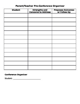 Parent/Teacher Pre-Conference Organizer