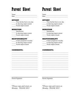 Parent/Teacher communication sheet