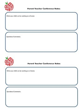 Parent/Teacher conference sign in sheet & home notes