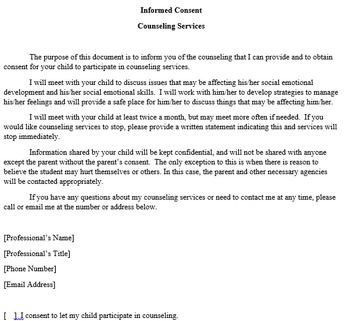 Parental Consent for Educational Counseling
