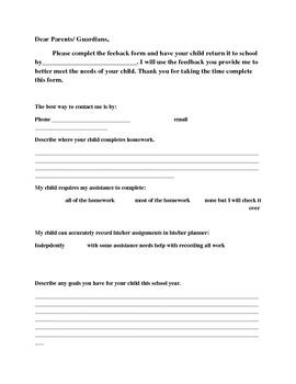 Parental Feedback Form