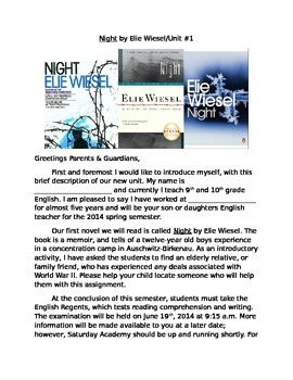 Parental Newsletter for Night