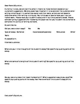 Parental Reaction to Essay/Writing