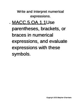 CCSS.5.OA.1.1 Parentheses, Brackets, Braces 5th Grade