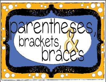 Parentheses, Brackets, and Braces Task Cards