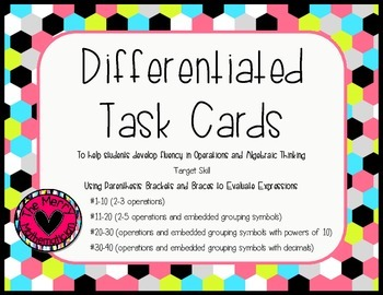 Parenthesis Brackets and Braces Differentiated Task Cards