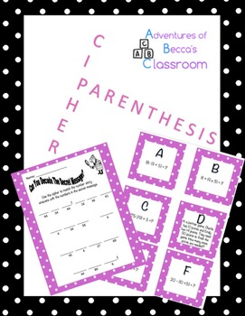 Parenthesis Cipher: Common Core Order of Operations Problem Solving
