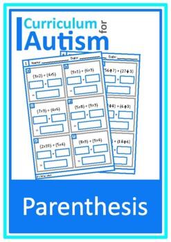 Parenthesis Equations Worksheets, Autism Middle School Math