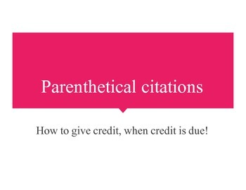 Parenthetical Citation PPT