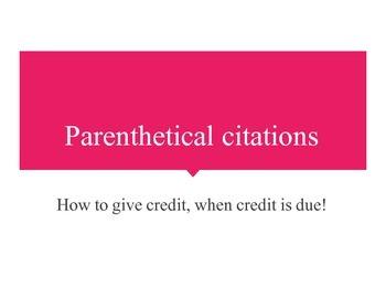 Parenthetical Citation PPT