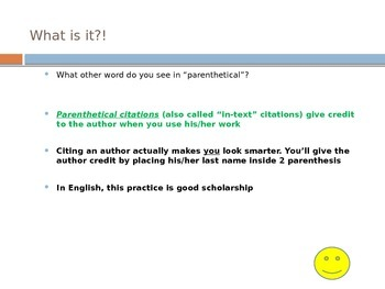 Parenthetical Citations - Introduction Notes and Practice