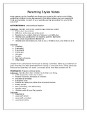 Parenting Style Scenarios and Class Notes