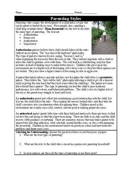 Parenting Styles (Psychology) Quick Read and Examples Worksheet