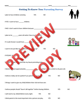 Parenting Survey Getting to Know You for Child Development FCS Courses