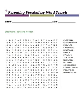 Parenting Vocabulary Word Search