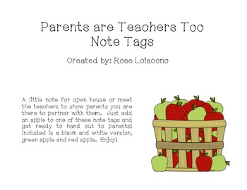 Parents Are Teachers Too Note Tags