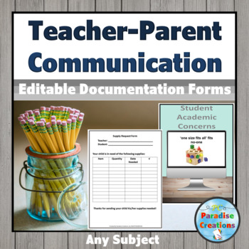 Parent's Communication Binder - for teacher's contact