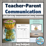 Parent's Communication Binder - for teacher's contact