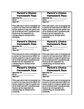 Parent's Choice Homework Passes