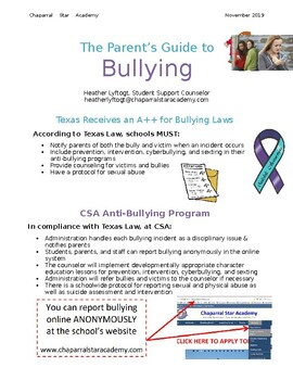 Parents' Guide to Bullying- editable