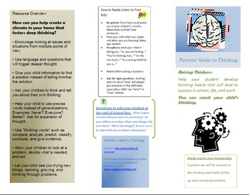 Parents Guide to Thinking based on Habits of the Mind