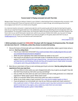 Parents Guide to playing the Lemonade Cart digital app wit