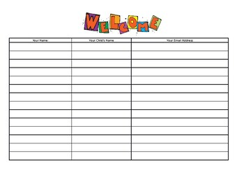 Parents Night Sign In Sheet