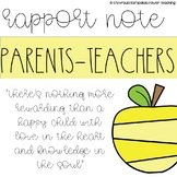 Parents-Teacher Rapport Note