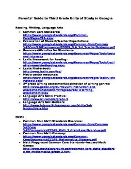 Parents' Website Guide to Third Grade Curriculum
