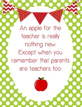 Parents are Teachers too Orientation Night Sign: GREEN/RED