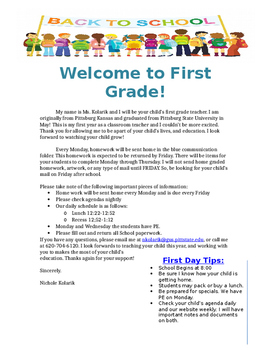 parents welcome letter