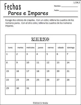 Pares e Impares con fechas 1.OA.C.5 First Grade Math