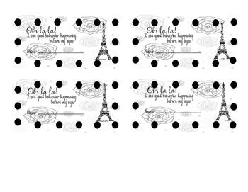 Paris Behavior Card