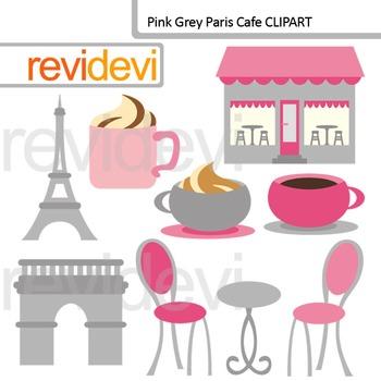 Paris clip art: Paris Cafe Pink Gray Clip art