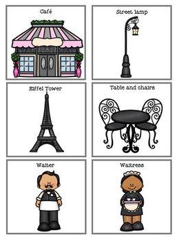 Paris Cafe Poem, Comprehension Worksheet and File Folder Match