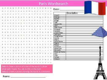 Paris City Wordsearch Sheet Starter Activity Keywords France Geography