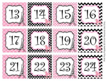 Paris Classroom Decor Monthly Calendar Numbers