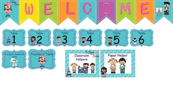 Paris Classroom Helper  Welcome Banner And Tables Signs