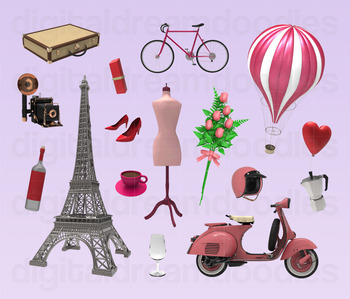 Paris Clip Art - France Eiffel Tower Digital Graphics