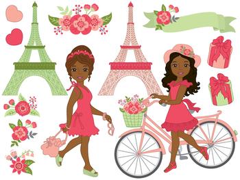 Paris Clipart - Digital Vector, Flower, Paris, Eiffel Tower, Paris Clip Art