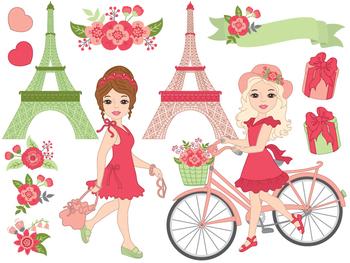 Paris Clipart - Digital Vector Paris, Eiffel Tower, Girl, Paris Clip Art