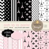Paris Digital Paper, Eiffel Tower Printable Digital Background Papers