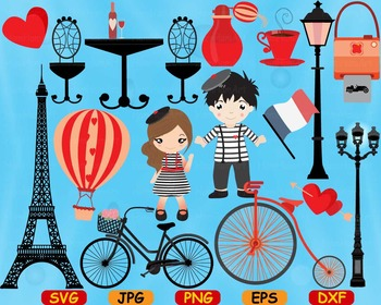 Paris Eifel Tower Love cut Clip Art svg school French valentine's day flag -75S