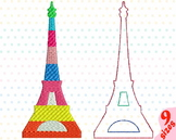 Paris Eiffel Tower Embroidery Design Buildings City World love france 165b