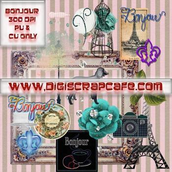 Paris France Bonjour png transparent clip art scrapbook journal papers