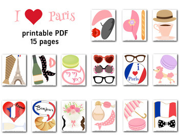 Paris Inspired Photo Booth Props Paris Party Parisian French Party C