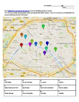 Paris Interactive Map Activity