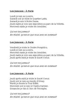 Paris Jumeaux Speaking activity
