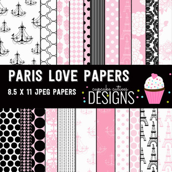 Paris Love  Digital Paper Pack 8.5 x 11
