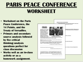 Paris Peace Conference worksheet - Treaty of Versailles - US/Global/World